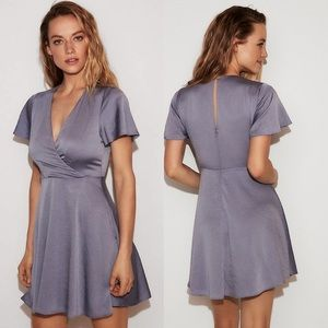 NWT express satin blue short sleeve dress